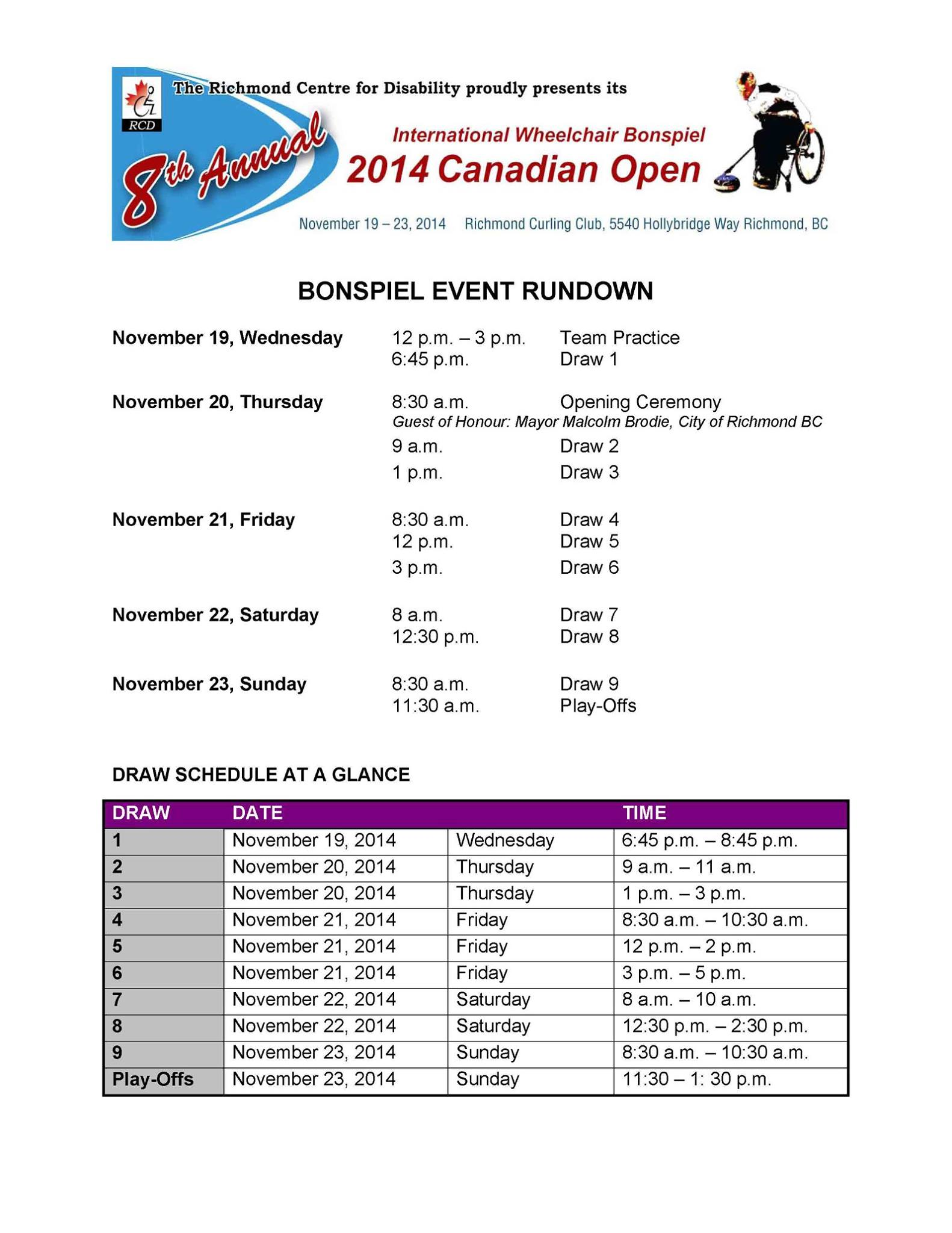 International Wheelchair Bonspiel 2104 Canadian Open schedule 2
